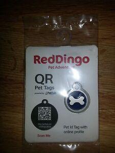 QR Pet ID Tag ~ RedDingo ~ Small Bone ~ Blue ~ Retail $19.95