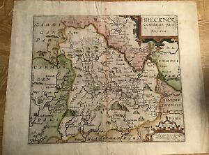 ANTIQUE MAP BRECON (BRECKNOG) 1637 BY SAXON/KIPP FROM CAMDEN'S BRITANNIA
