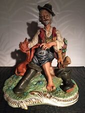 Capodimonte Porcelain  Large sculpture The Hunter & Dog  Italy