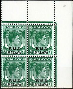 Straits Settlements BMA 1947 3c Yellow-Green (Dark Shade) SG4 Fine MNH Block