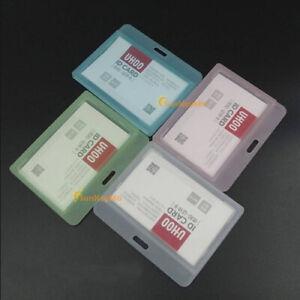 Hard Plastic ID Card Business Horizontal Vertical Holder Badge Office Document S
