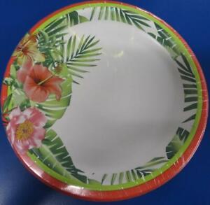 """Palm Beach Flamingo Tropical Beach Luau Theme Party 9"""" Paper Dinner Plates"""
