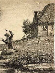 "Rare William Morris Hunt 1858 Original Litho ""Young Boy Chasing Swann"""