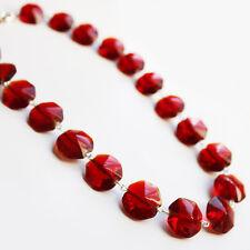 Handmade 48cm Single Strand Red Hexagonal Glass Bead Necklace