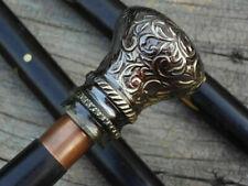 Antique Solid Brass Head Handle Vintage Victorian Wooden Walking Cane Stick Gif