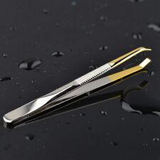 Portable Stainless Steel Eyebrow Tweezers Clip Eyelash Hair Removal Slant Tip HH