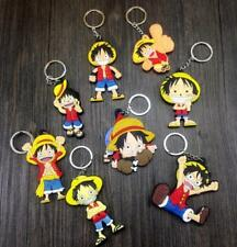 8pcs one piece luffy happy silica hot key chain key chains figure pendant new