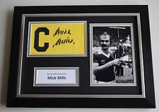 Mick Mills SIGNED FRAMED Captains Armband A4 Display Ipswich Town PROOF & COA