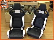 BB6 Reclining Bucket Seats Black / White + Adaptor Plates LANDROVER DEFENDER