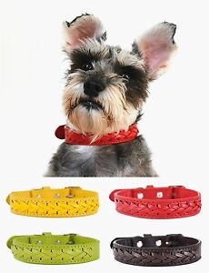 High Quality Braided Pet Dog Cat Puppy Genuine Real Leather Collar Neck Buckle