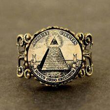 Vintage Punk Masonic RING Illuminati Pyramid Eye Peak Collectible Jewelry Jewish