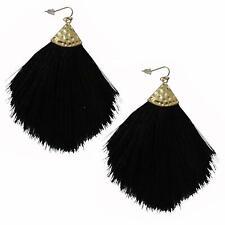Colorful Tassel Earrings Bohemian Silky Thread Strand Feather Shape Fan Fringe