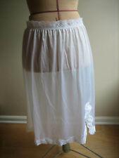 VASSARETTE White Nylon Half Slip, Lace Hem, Off Center Front Slit - Size 2 - USA