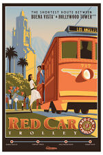 "RED CAR TROLLEY DISNEY CALIFORNIA ADVENTURES POSTER 12"" X 18"""