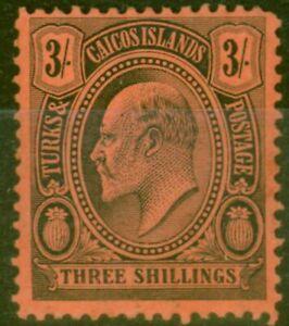 Turks & Caicos Is 1909 3s Black-Red SG126 Fine Mtd Mint
