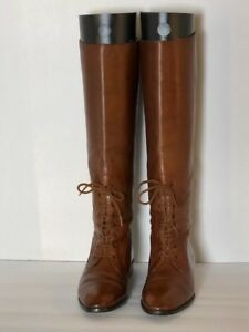 Women's Vintage Brown Leather Riding Boots, Size 7 AA, Narrow