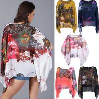 Women Summer Floral Chiffon Boho Bikini Cover Up Kimono Blouse Long Sunscreen