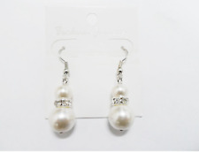 Faux White Pearl Drop Crystal Earrings  Wedding Bride Bridesmaids