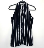 Vintage Black White Stripe Blouse Top Button Front Size 10