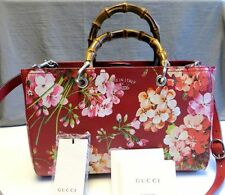 $2190 Gucci AUTH NEW Blooms Red Leather Shoulder Strap Medium Bamboo Shopper