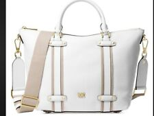 Authentic MICHAEL KORS Griffin Leather Satchel Shoulder Bag Optic White NWT