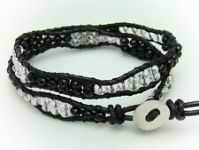 2 Wrap beaded Bracelet with crystal, black glass beads Real  leather