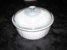 "CORNING WARE FRENCH WHITE 2 1/2 QT ROUND BAKING DISH 2.5 - ""36 PYREX LID 624C A"""