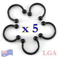 5 x Circular Horseshoe rings Bulk 18g Tragus  BLACKLINE Black CBB Nipple Eye *