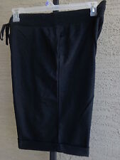 Women's Hanes Live Love Color  Med. French Terry Bermuda Cuffed Shorts  Black