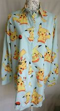 "WOMENS LOOSE FIT POKEMON PIKACHU LONG SHIRT BLOUSE NEW 1 SIZE BUST 45"" 114 CM"