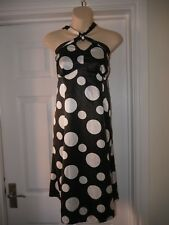New Ladies Bold Black & White Dress Size 14 South Petite Halterneck Satin Frock