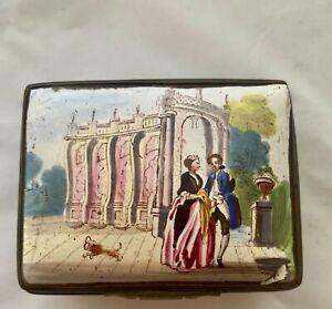 18th Century Bilston/Battersea Rectangular w/Man, Woman,Castle, Enamel Snuff Box