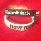 Twilight Saga New Moon I'd Rather Die Than Be With Anyone Charm Rubber Bracelets