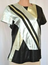 Silver Stripped Leather Round Neck Back Zipper Short Sleeves Top Size 12 320SRO