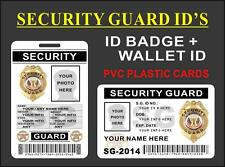 Security Guard ID Set (ID Badge + Wallet Card) CUSTOMIZE W/ Your Own Info - PVC