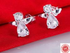 925 Sterling Silver Guardian Angel Crystal CZ Gem Stud Ear Earrings Butterfly UK