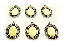 6 Antiqued Goldtone HELENA Style 18mm x 13mm CAMEO PENDANT & Earrings Settings