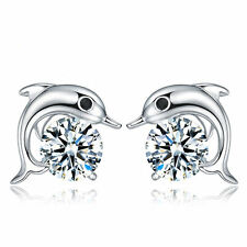 Women 925 Sterling Silver Jewelry Elegant Crystal Ear Stud Earrings Cute Dolphin