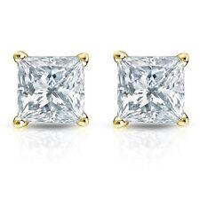 1.10Ct Princess Cut Solitaire Simulated Diamond Stud Earring 14k Yellow Gold PB