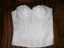 Fredericks of Hollywood White on White  Strapless Longline Bra Corset 38 Bustier