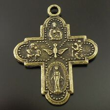 40pcs Antiqued Styles Bronze Iron Godness Cross Pendant Charms 26*23*2 mm 36404