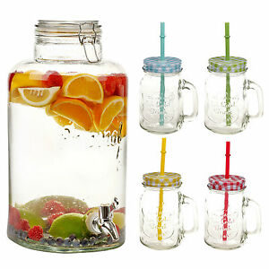 8 Litre Glass Beverage Dispenser 4 Or 8 Drinking Glasses With Straw & Handle Jug