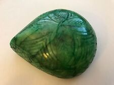 86x68mm (1,183cts) PEAR-CARVED FOREST-GREEN CERTIFIED NATURAL BRAZILIAN EMERALD