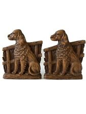 Vintage Pair of Syroco Wood English Setter Dog Figural Bookends 7� Tall U.S.A.
