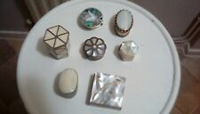 Mother of Pearl Inlaid Pill Trinket Box job lot x 7 various shapes and desjgns