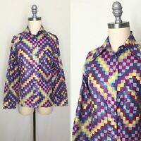 Vintage 70s Saska Parrott Checkered Blouse Size Medium