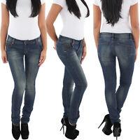 SOTALA Röhrenjeans Damen Stretch Hüft Röhren Jeans Slim Fit Skinny Hose Blau