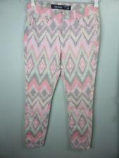 Pretty grey pink blue patterned geo print 3/4 Ankle Grazer skinny jeans sz 9
