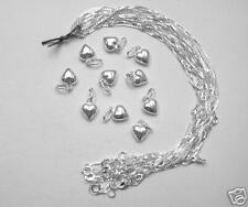 10 pcs Sterling Silver Small HEART Necklaces 18 inch