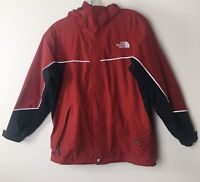 The North Face HyVent Hooded Rain Jacket Full Zip Youth Boys Sz Large Red/Black